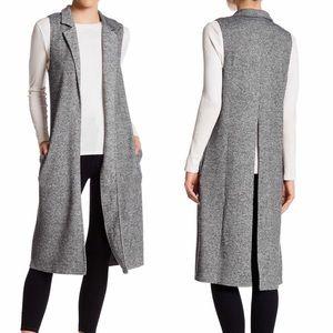 Socialite Notch Lapel Knit Vest Duster w/ Pockets